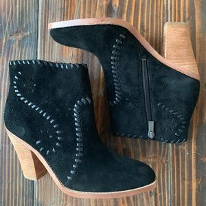 Ivanka Trump Black Suede Leather Ankle Boots